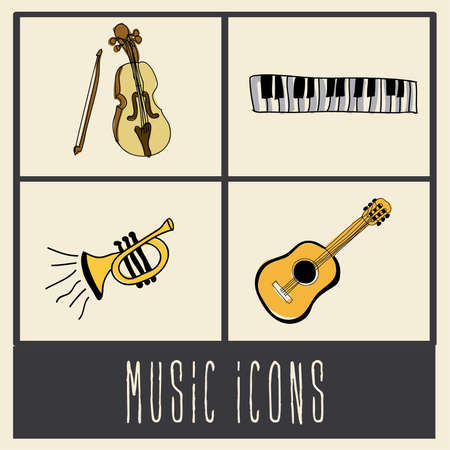music icons over cream background vector illustration  Vector