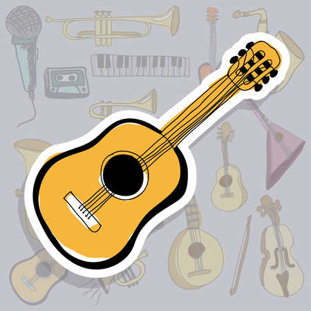 classical guitar: acoustic guitar icon over gray background vector illustration  Illustration