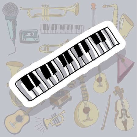 music icon over gray background vector illustration  Vector