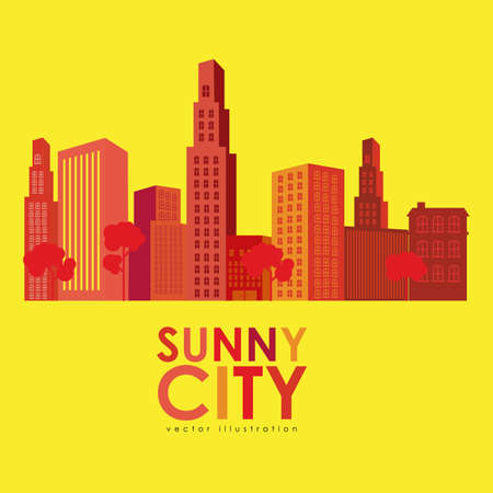 sunny city design over yellow background vector illustration Vector