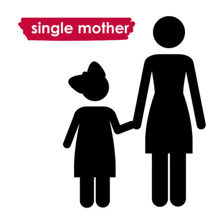 single parent: single mother over white background vector illustration  Illustration