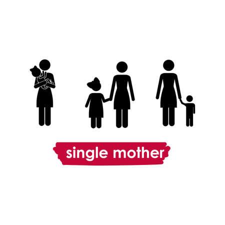 alleinerziehende Mutter auf weißem Hintergrund Vektor-Illustration