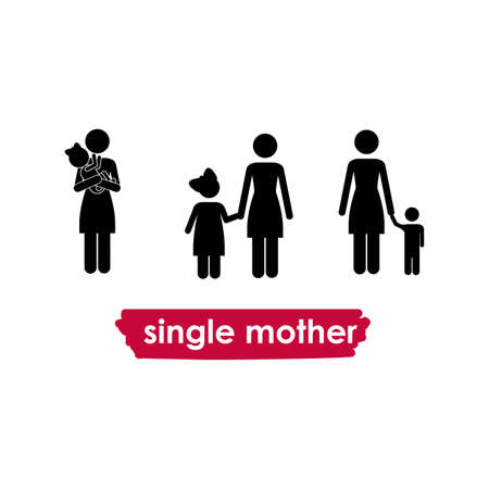 single mother over white background vector illustration  Vector