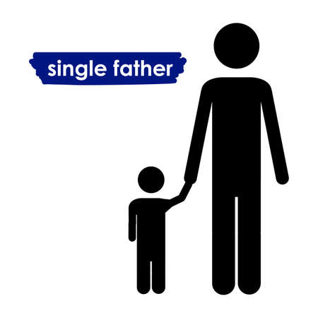 single father over white background vector illustration  Stock Vector - 21517499