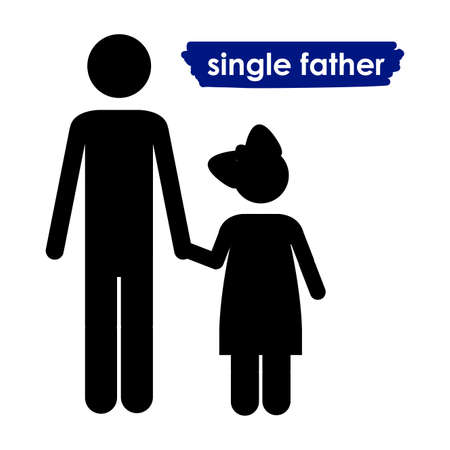 single parent: single father over white background vector illustration