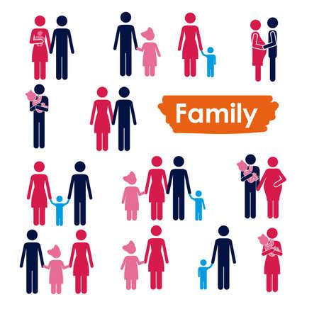 白い背景の上の家族のアイコン ベクトル イラスト