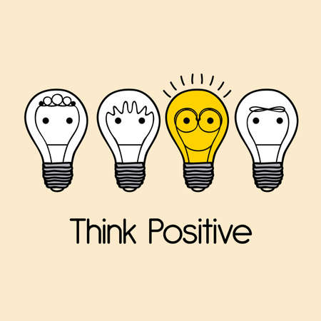 thinking icon: think positive over pink  background vector illustration