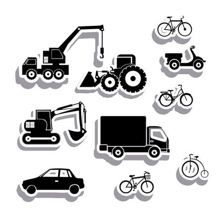 agrimotor: machinery icons over white background vector illustration