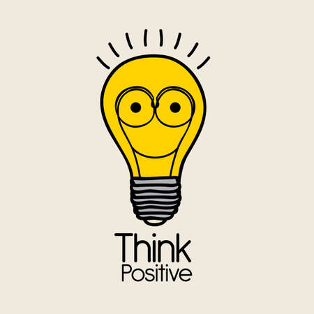 idealistic: think positive over pink  background vector illustration