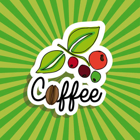 coffee design over green background vector illustration
