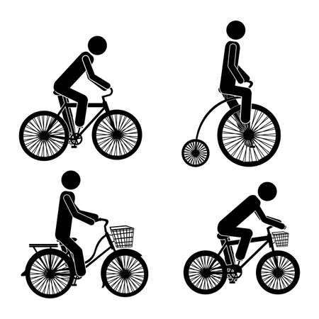 cycling icons over white background vector illustration  Vector