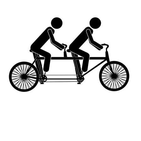 Tandem: tandem bicycle over white background vector illustration