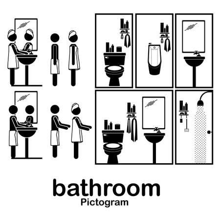 shower room: bathroom pictogram over white background vector illustration  Illustration