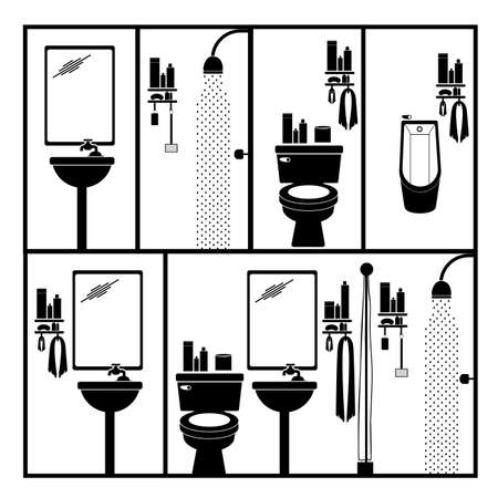 bathroom pictogram over white background vector illustration  Vector
