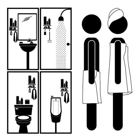 sanitary towel: bathroom pictogram over white background vector illustration  Illustration