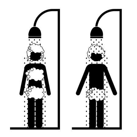 frau dusche: Dusche Design auf wei�em Hintergrund Vektor-Illustration