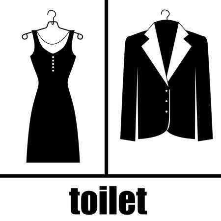 man and women wc sign: elegant suits over white background vector illustration  Illustration