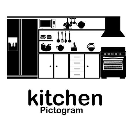 kitchen pictogram over white background vector illustration  Çizim