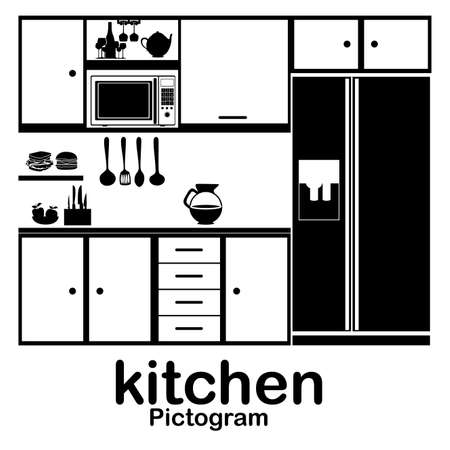 kitchen appliances: kitchen pictogram over white background vector illustration  Illustration