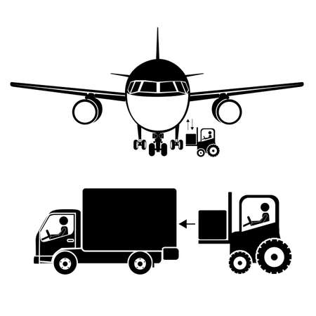 product signal: airport icons over white background vector illustration