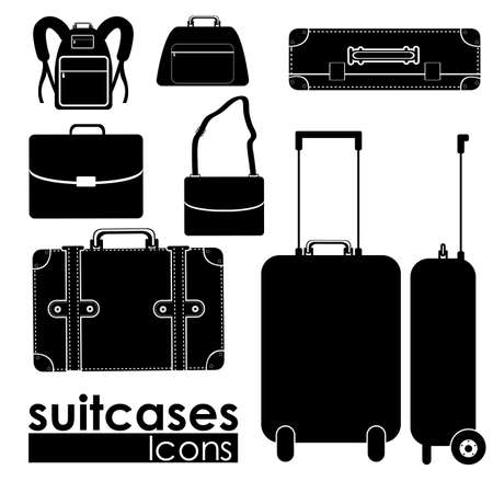 suitcases icons suitcases icons over white background vector illustration Çizim