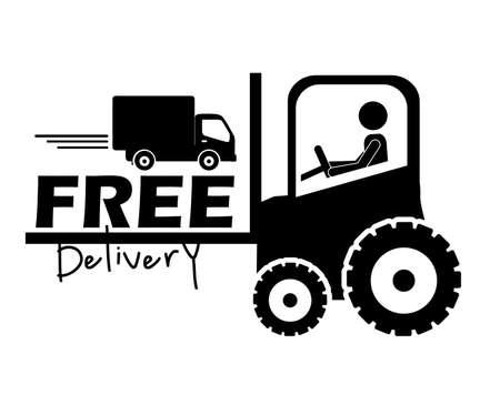 hoists: free delivery label over white background vector illustration  Illustration