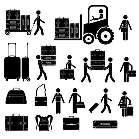 suitcase packing: suitcases icons over white background vector illustration  Illustration
