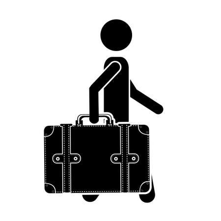 luggage carrier: traveler design over white background vector illustration