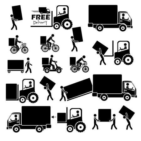 lorries: Icone di consegna su sfondo bianco illustrazione vettoriale