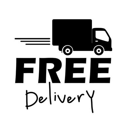 moving truck: free delivery label over white background vector illustration  Illustration