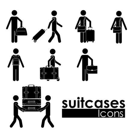 packing suitcase: valigie le icone su sfondo bianco illustrazione vettoriale Vettoriali