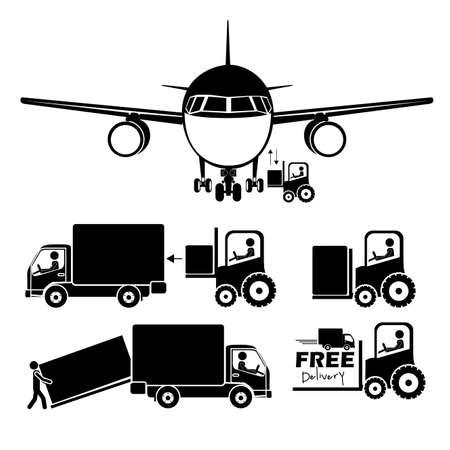 verhuis dozen: luchthaven pictogrammen op witte achtergrond vector illustratie