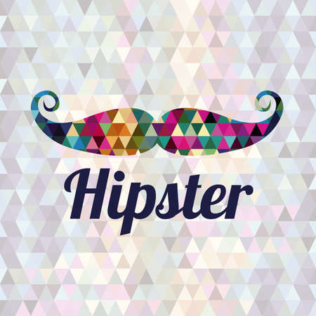hipster mustache: hipster design over geometric background vector illustration