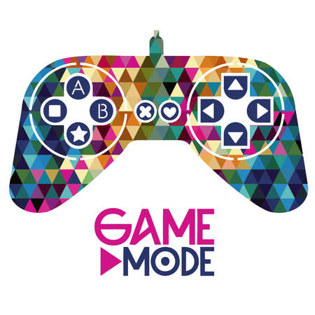 game graphics: joystick design over geometric  background vector illustration