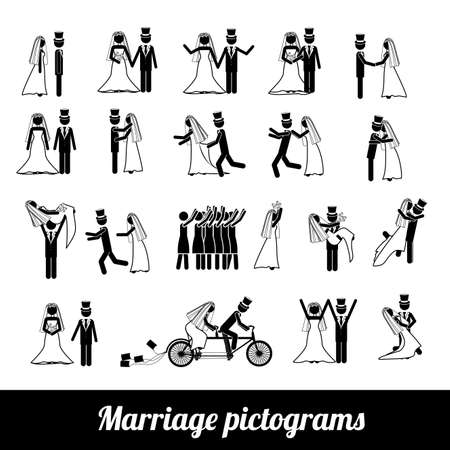 fidelity: marriage pictograms over white background vector illustration