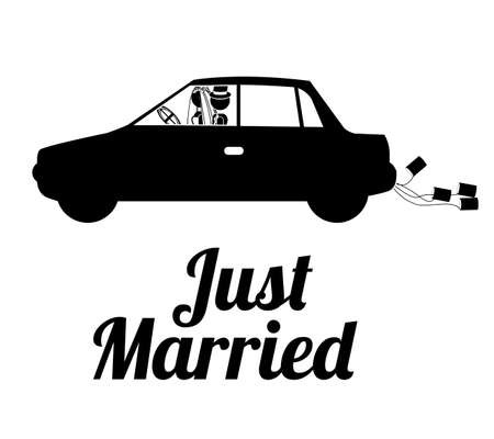 honeymoon: just married design over white background vector illustration