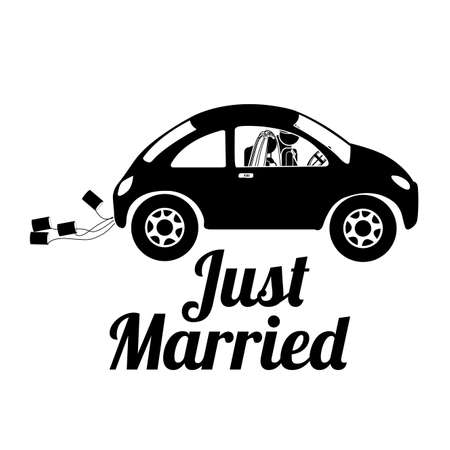 wedding couple: just married design over white background vector illustration