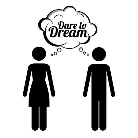 osare: coraggio di sognare su sfondo bianco, illustrazione vettoriale
