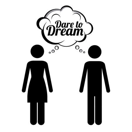 dare to dream over white background vector illustration   Vector