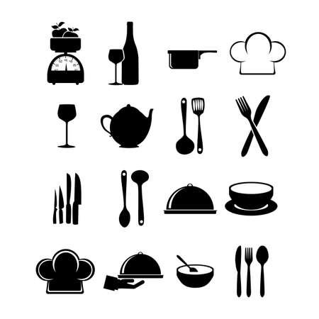 Iconos de restaurante sobre fondo blanco ilustraci?n vectorial