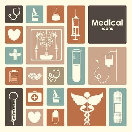 egészségügyi: orvosi ikonok alatt rózsaszín háttér vektoros illusztráció