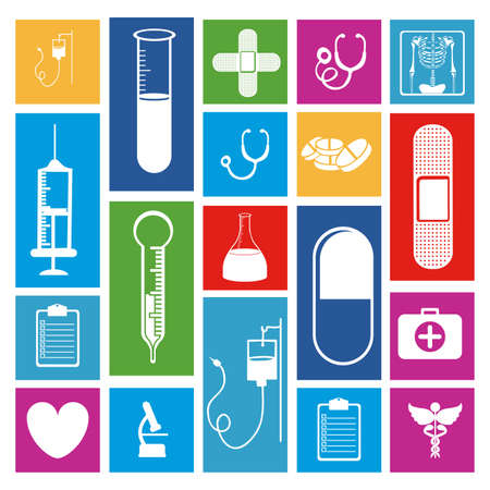 medical icons over white background vector illustration  Çizim