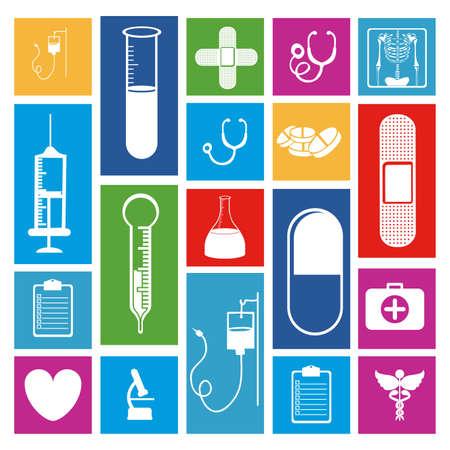 medical icons over white background vector illustration  Illustration