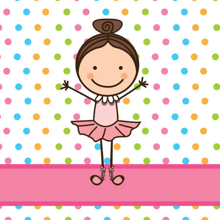 little ballerina over dotted background vector illustration  Vector