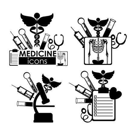 medical icons over white background  Vector