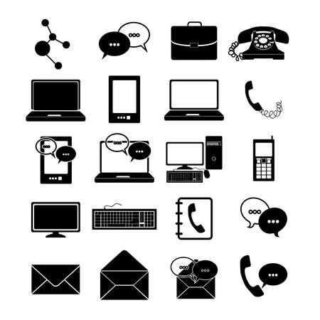 communications icons over white background Stock Vector - 21687916