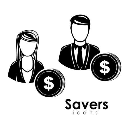 savers icons over white background  Vector