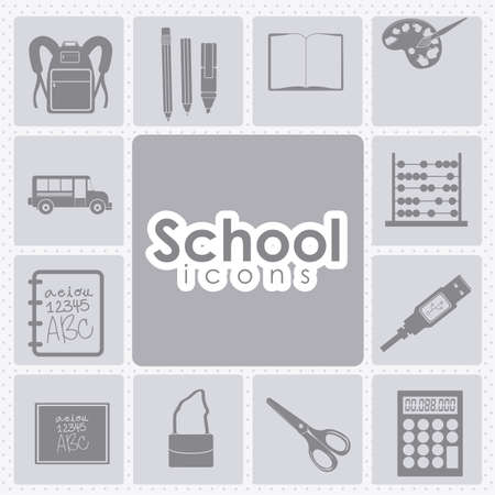 school icons over white background