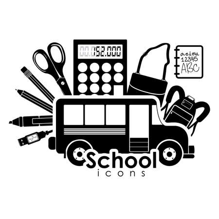 rout: school icons over white background Illustration