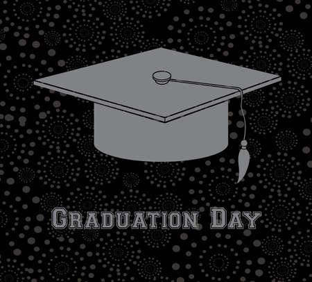 convocation: graduation day over black background  Illustration